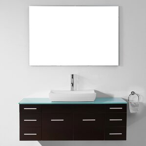 rutan 56 single bathroom vanity set with tempered glass top and mirror