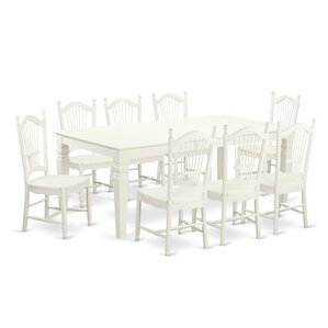 Beesley 9 Piece Linen White Hardwood Dini..