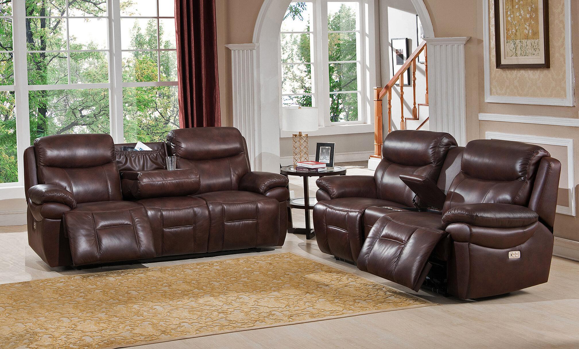 Red barrel studio kubik 2 piece leather reclining living room set wayfair