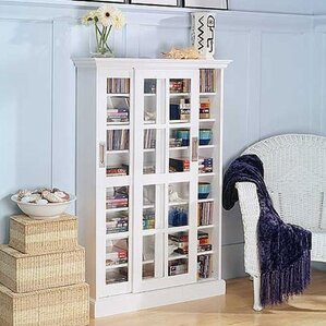 Sliding Door Multimedia Cabinet in White by Bloomsbury Market