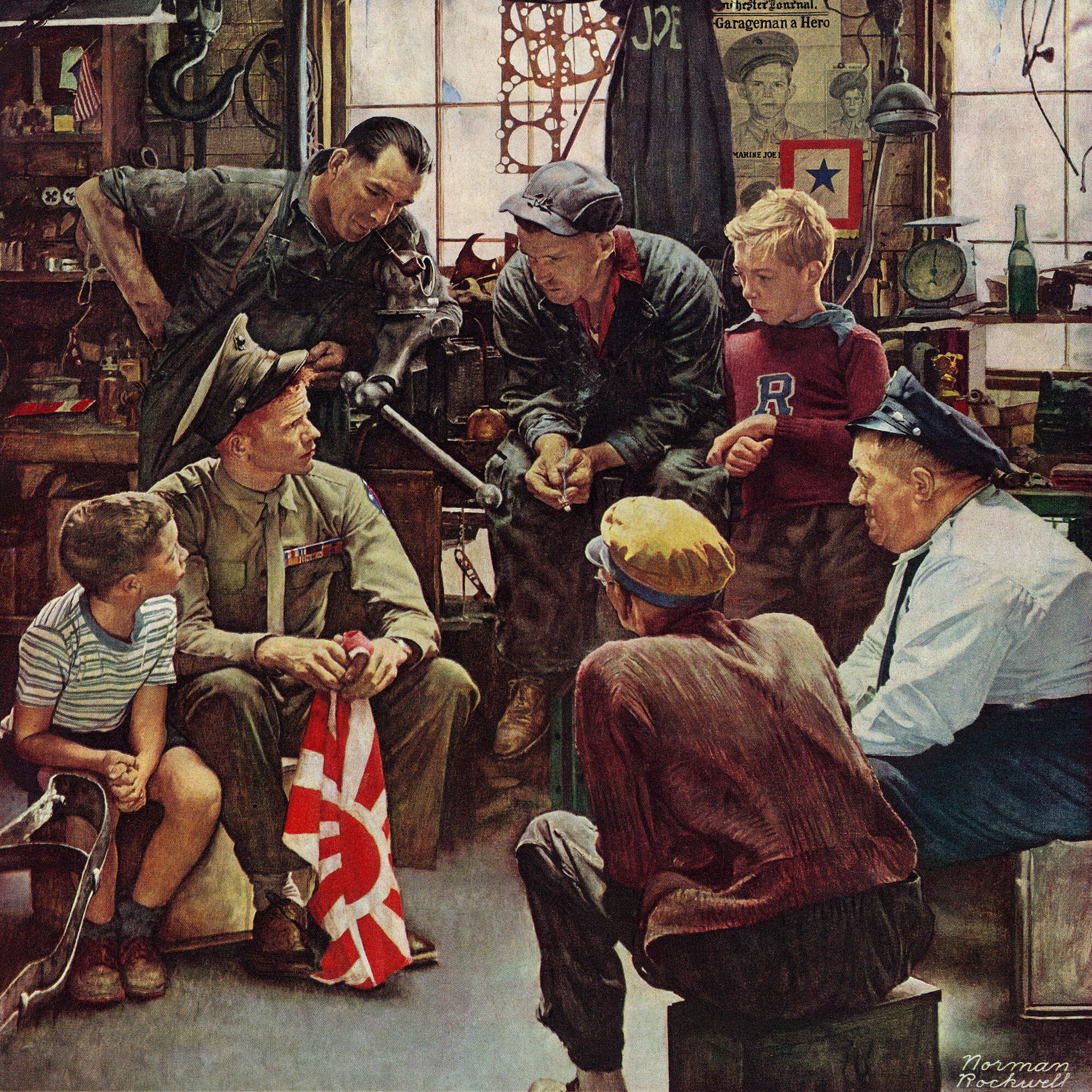 Marmont Hill \'Homecoming Marine\' by Norman Rockwell Painting Print ...