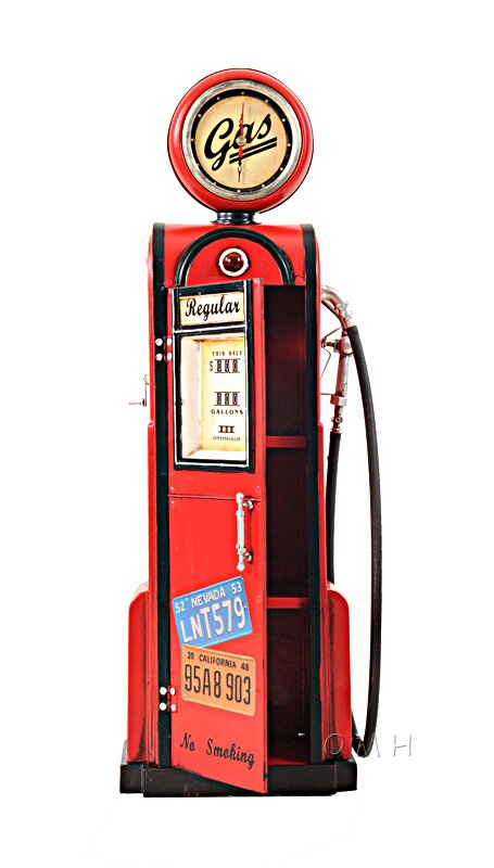 Old Modern Handicrafts Decorative Gas Pump With Clock 1 4