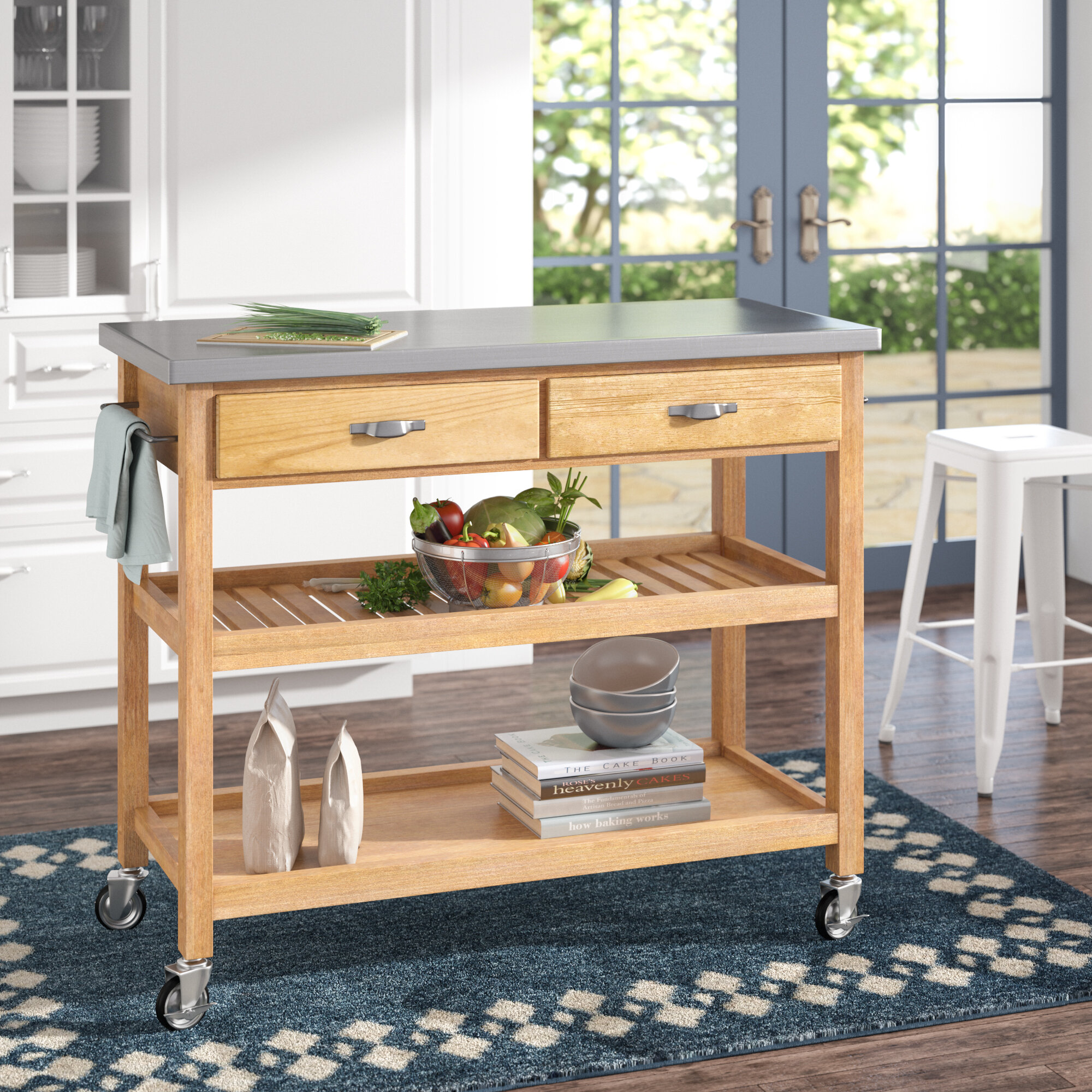 Alcott Hill Drumtullagh Kitchen Island With Stainless Steel Top Reviews Wayfair