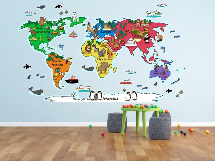 Hinz World Map Wall Decal