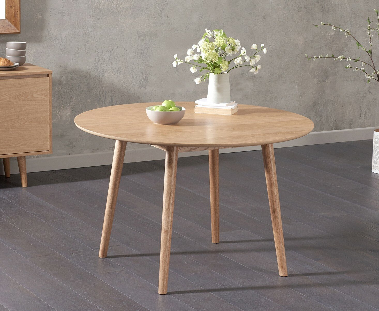 Corrigan Studio Erdem Round Oak Dining Table Wayfair Co Uk
