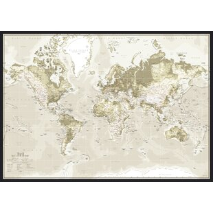 World map pinboard wayfair world map graphic art on canvas in brown gumiabroncs Choice Image