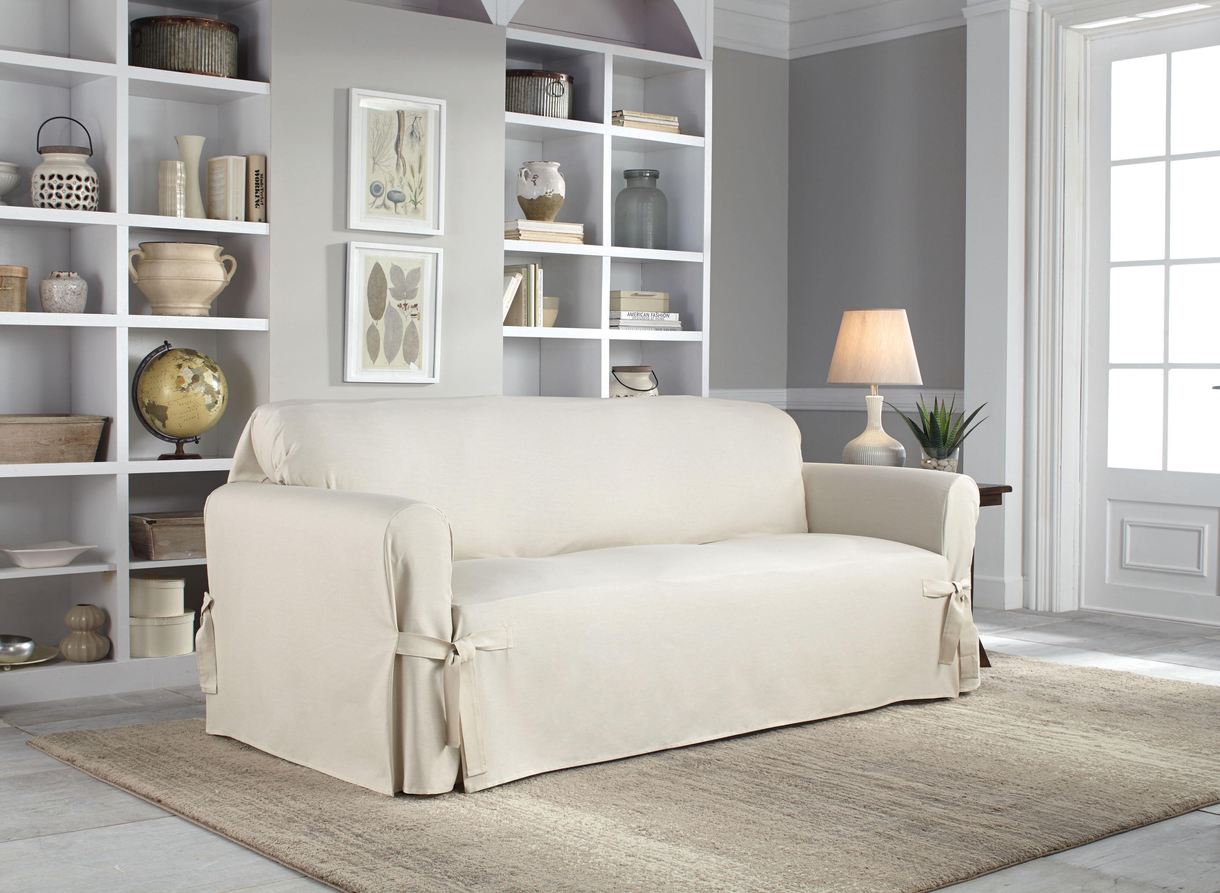 Serta Cotton Duck Box Cushion Sofa Slipcover Amp Reviews