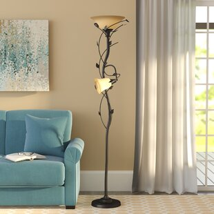 Torchiere Floor Lamp With Reading Light Glass Shades | Wayfair