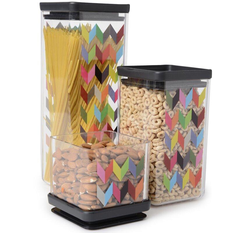 Ziggy Airtight Food Storage 3 Piece Kitchen Canister Set