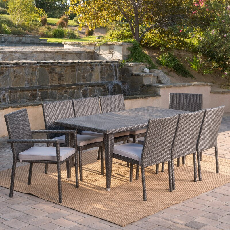 Latitude Run Schnell Wicker 9 Piece Dining Set with Cushions