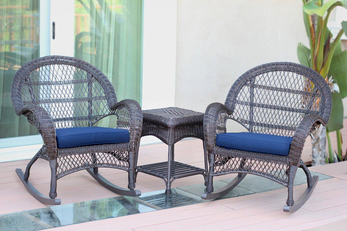 Santa Maria Wicker 3 Piece Rocker Seating Group With Cushion