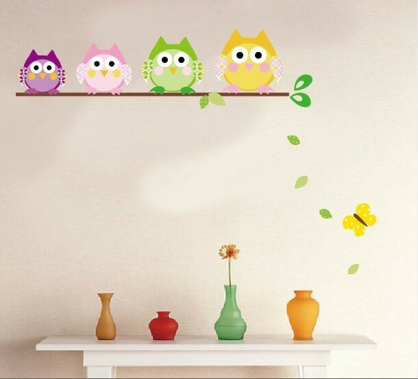 Single Leveled Branch Of 4 Owls Wall Decal
