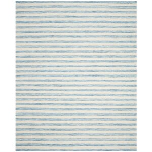 Dhurries Wool Aqua/Ivory Area Rug