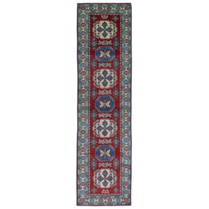 Evan Kazak Hand-Woven Wool Red Fringe Area Rug