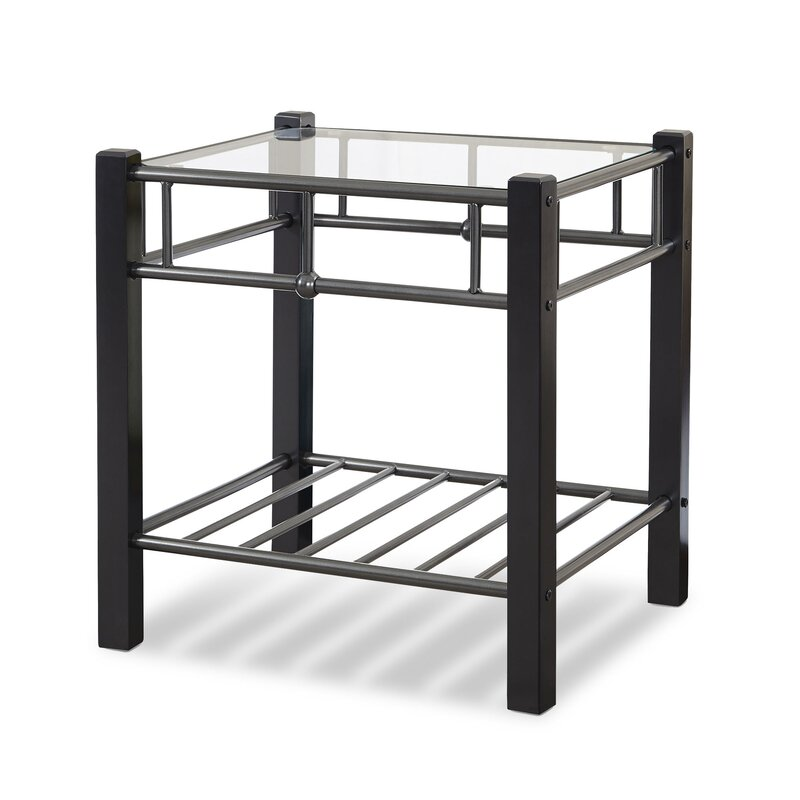 Sullivan Metal And Wood Nightstand With Glass Surface