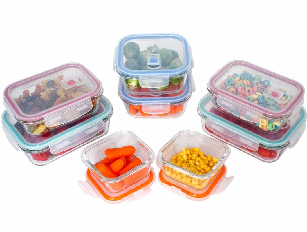Rebrilliant Glass Meal Prep 8 Container Food Storage Set Reviews