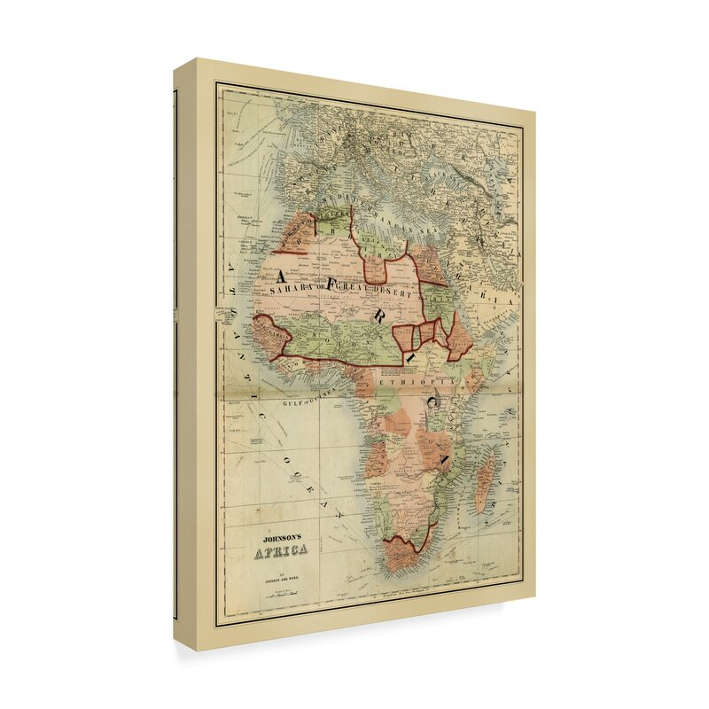 Map Of Africa Drawing.Antique Map Of Africa Drawing Print On Wrapped Canvas