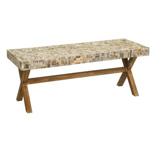 St. Lucie Cross Wood Bench by Rosecliff Heights
