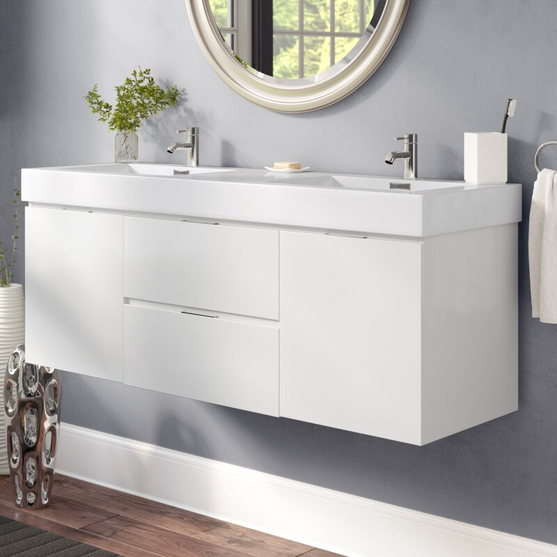 Wade Logan Tenafly 59 Quot Wall Mounted Double Bathroom Vanity