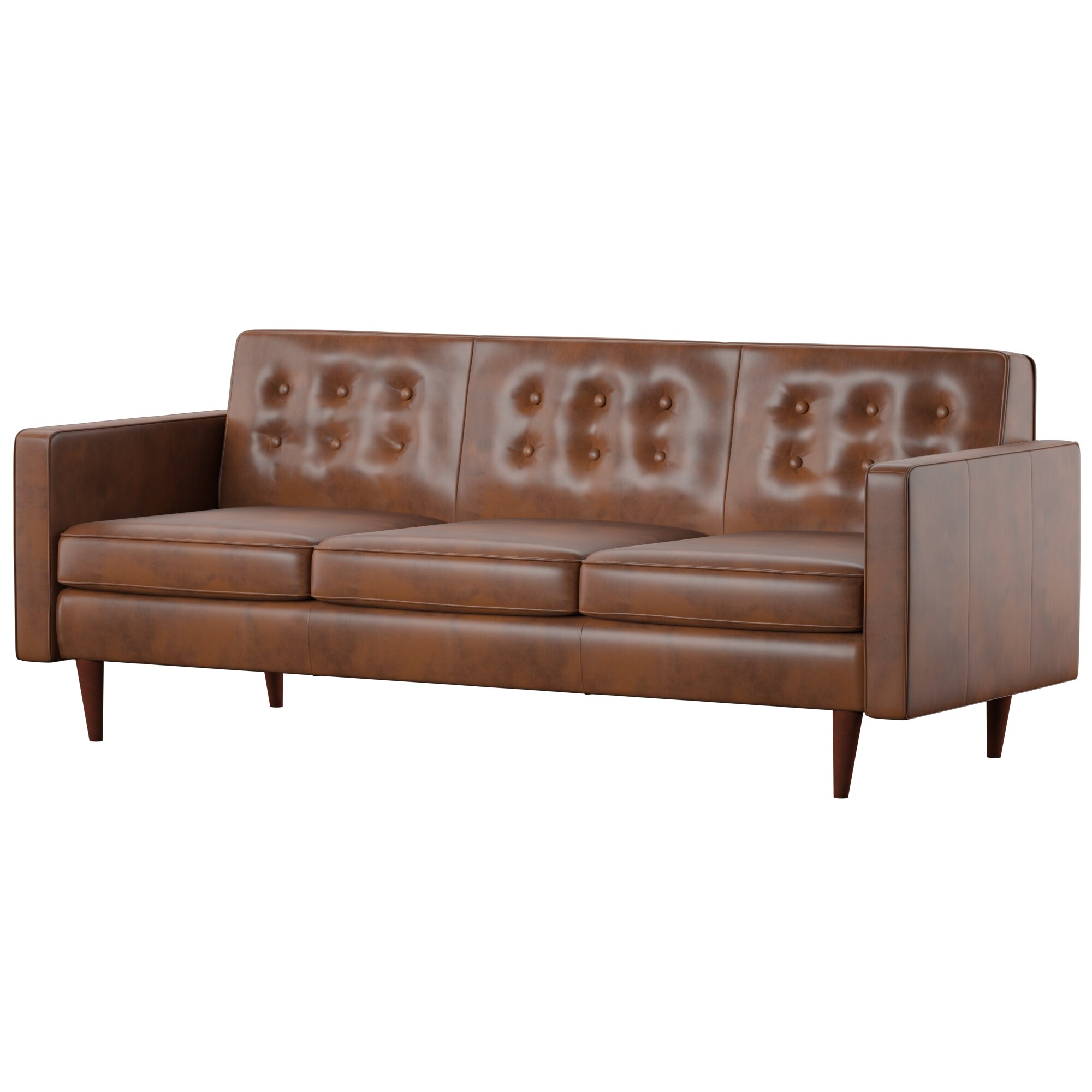 Louane Mid Century Modern Leather Sofa Reviews Allmodern