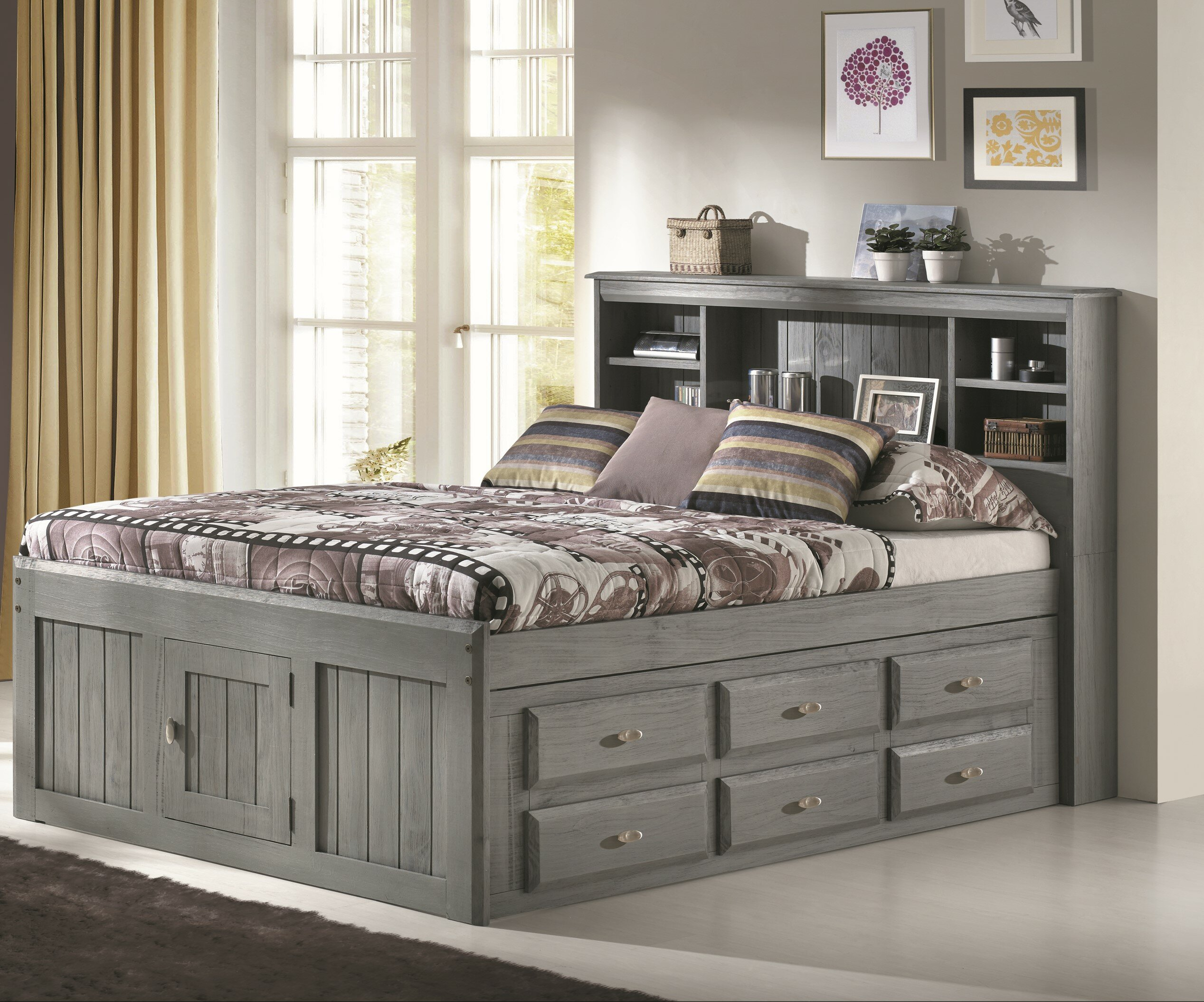 Harriet Bee Jim Full Mate S Captain Bed With Drawers And Bookcase Reviews Wayfair