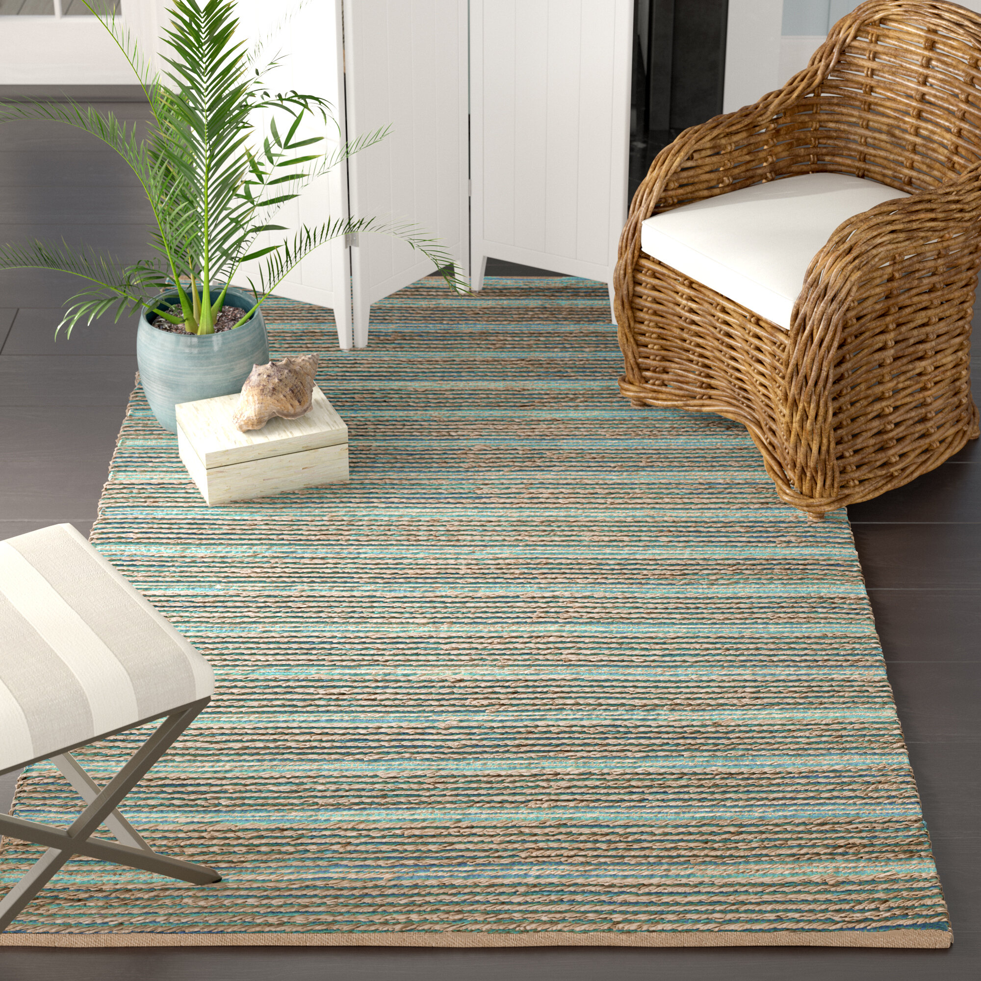 Beachcrest Home Marshville Hand Woven Aquabeige Area Rug & Reviews -