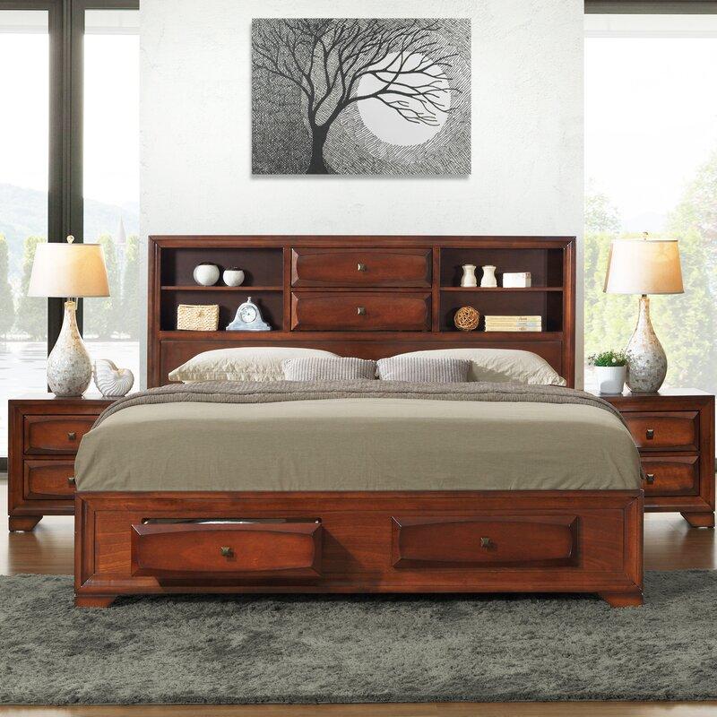 Roundhill Furniture Blemerey Platform 6 Piece Bedroom Set: Roundhill Furniture Asger Queen Platform Configurable