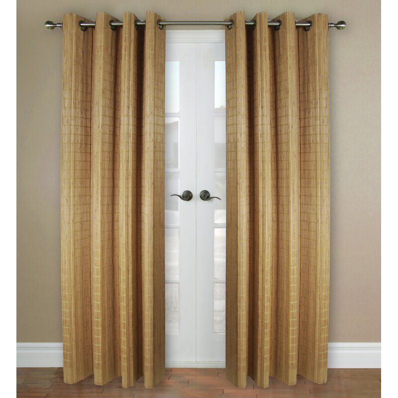 Versailles Home Fashions Bamboo Rayon Striped Semi Sheer Grommet Single Curtain Panel Reviews Wayfair