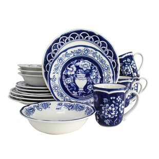 Embree 16 Piece Hand-Painted Dinnerware Set Service for 4 (Set of 16)  sc 1 st  Wayfair & Hand Painted Stoneware Dinnerware Set | Wayfair