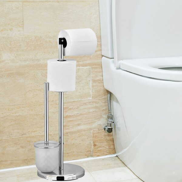 Rebrilliant Cavazos Freestanding Toilet Paper Holder With Brush