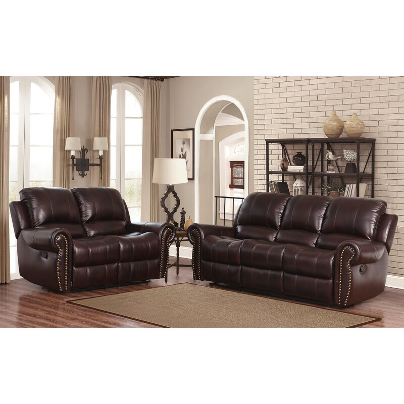 Darby home co barnsdale reclining 2 piece leather living room set reviews wayfair 2 piece leather living room set