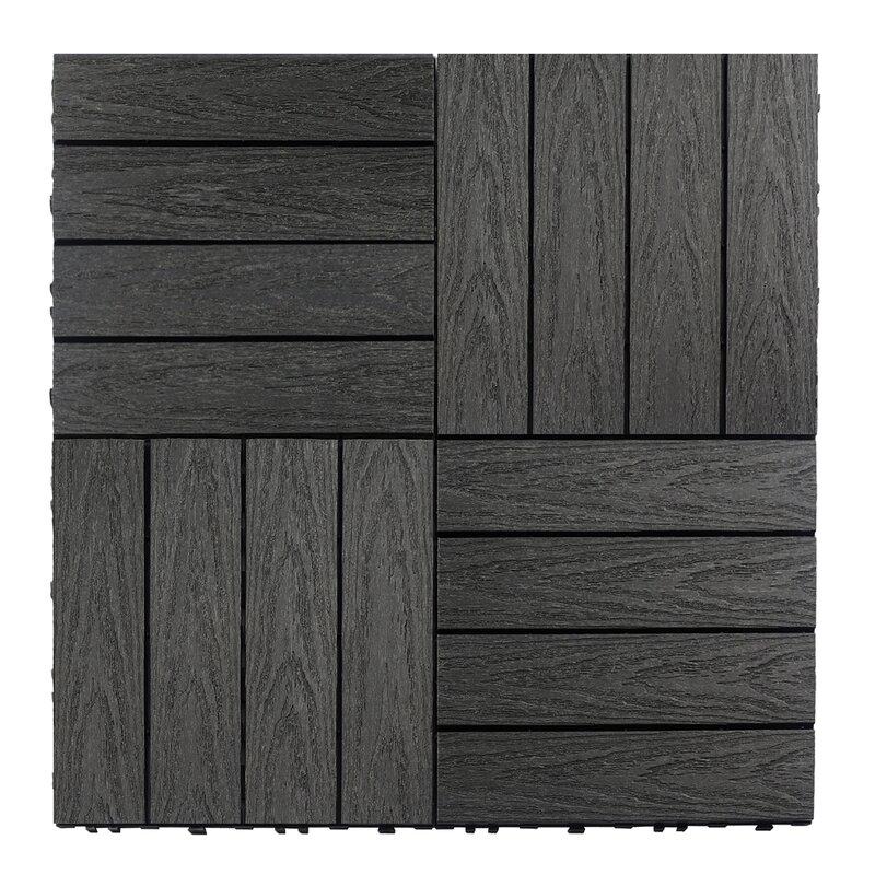 Naturale Composite 12 X Interlocking Deck Tiles In Hawaiian Charcoal
