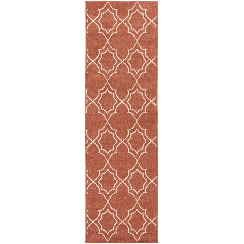 Alcott Hill Amato Power Loomed Rust/Cream Indoor/Outdoor Area Rug, Size: Runner 23 x 79