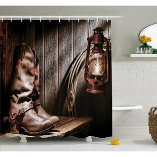 Western Dallas Cowboys and Lantern on a Bench in Vintage Ranch Nostalgic Folkloric Print Shower Curtain Set