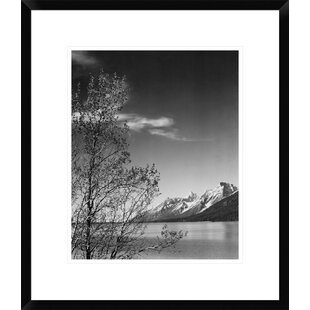 View Of Mountains With Tree In Foreground Grand Teton National Park Wyoming 1941 By Ansel Adams Framed Photographic Print