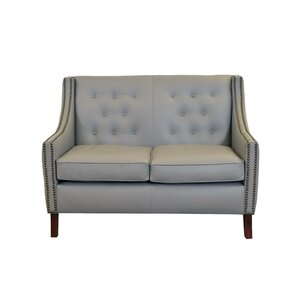 Woburn Genuine Top Grain Leather Loveseat by Westland and Birch