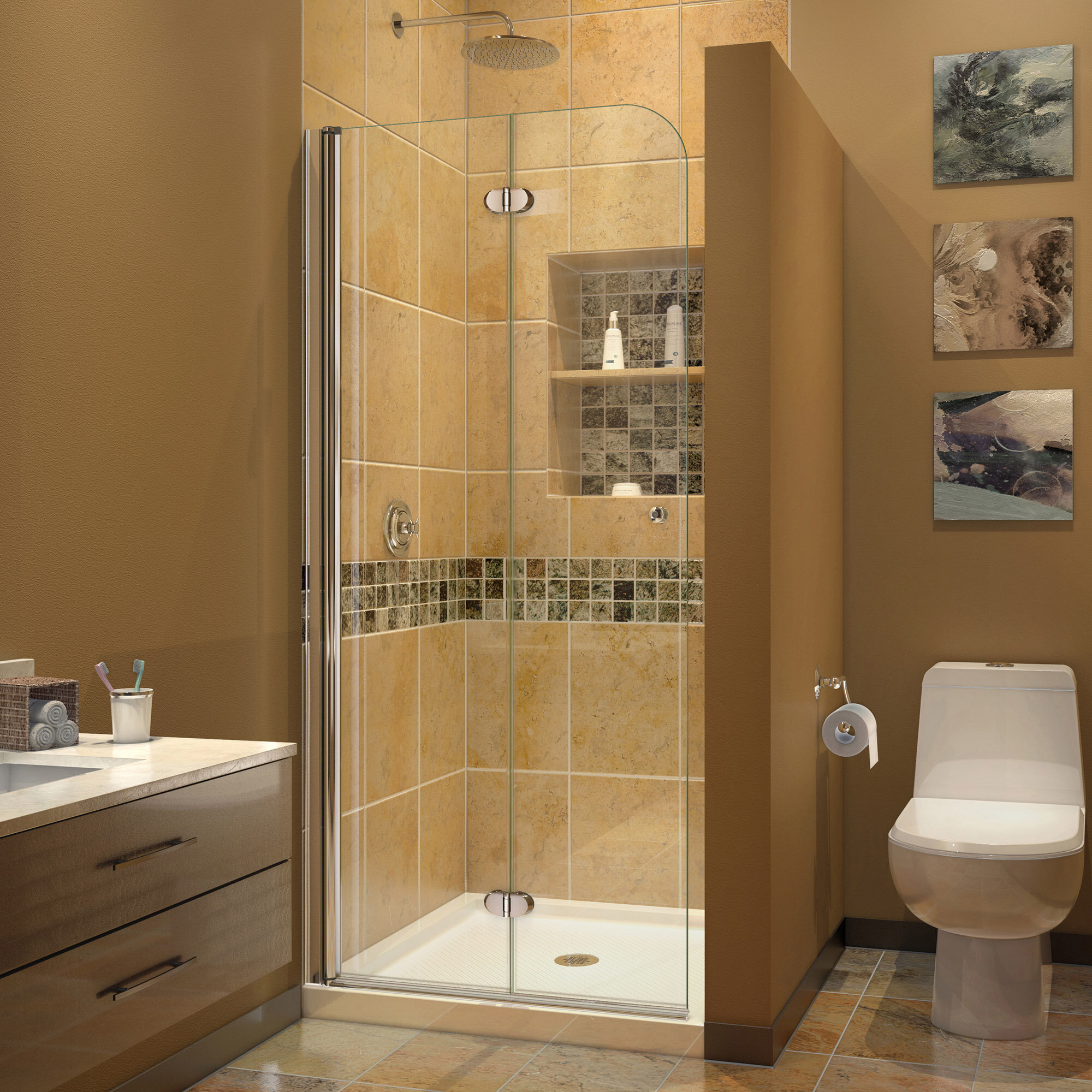 . Aqua Fold 33 5  x 72  Folding Frameless Shower Door