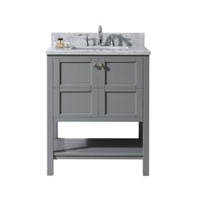 """Winterfell 30"""" Single Bathroom Vanity Set with White Marble Top and Mirror"""