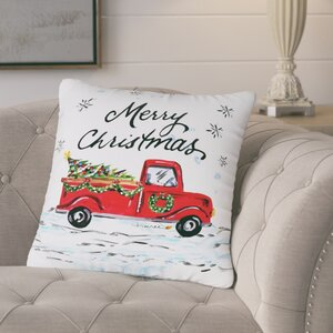 Corru00e8ze Merry Christmas Pickup Truck Throw Pillow