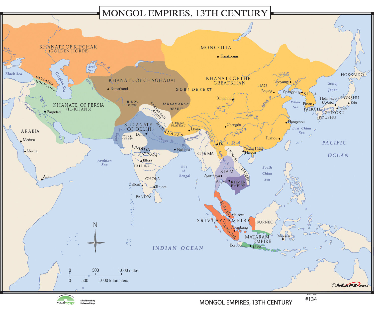 World History Wall Maps - Mongol Empires 13th Century on baghdad world map, mbanza world map, beijing world map, moscow world map, sarai world map, hangzhou world map, ulaanbaatar world map, kiev world map, samarkand world map, reykjavik world map, novgorod world map, angkor world map, malacca world map, kunlun world map, damascus world map, tangier world map, mogadishu world map, burma world map, java world map, japan world map,