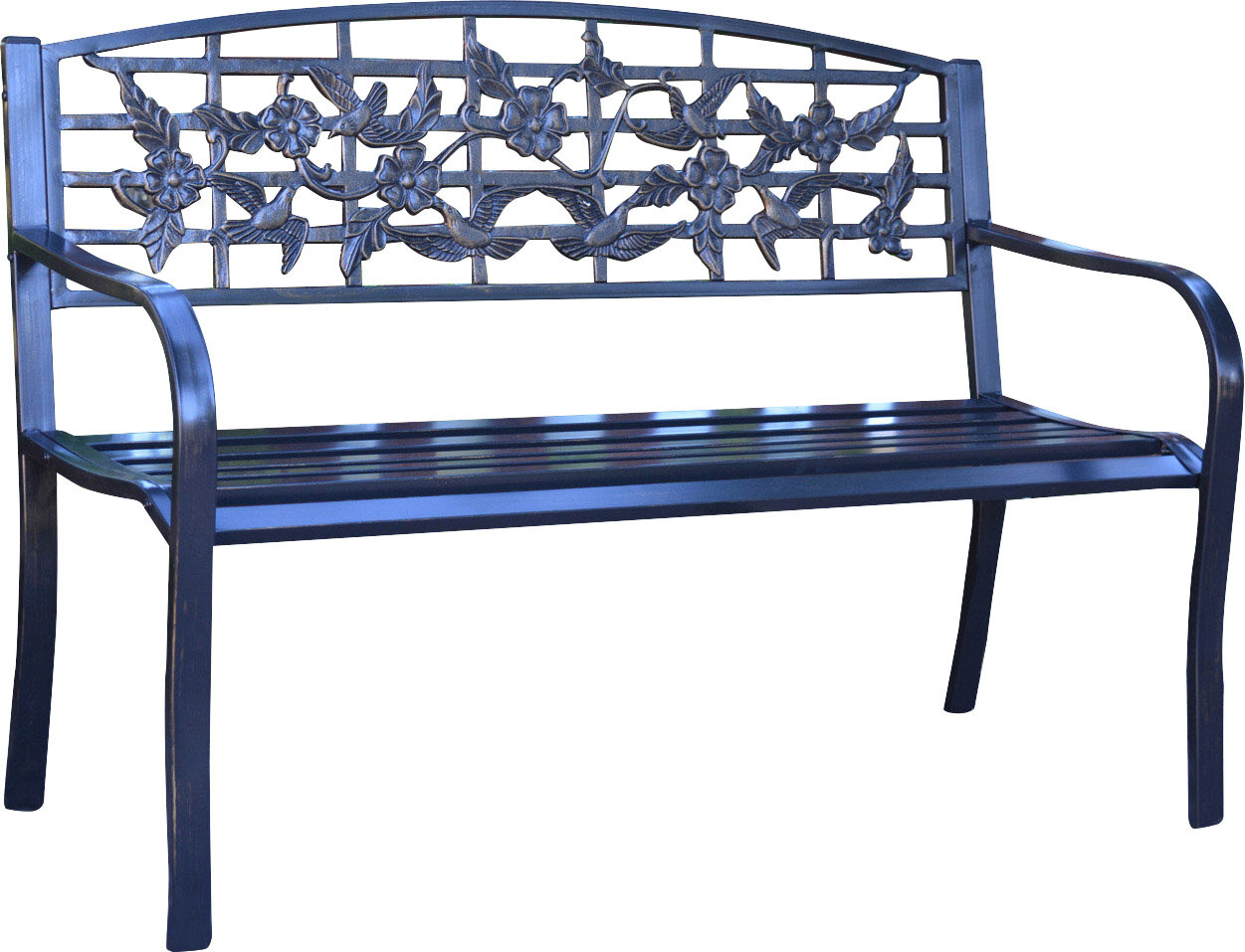 Jeco Inc. Flowers and Bird Curved Back Metal Park Bench & Reviews ...