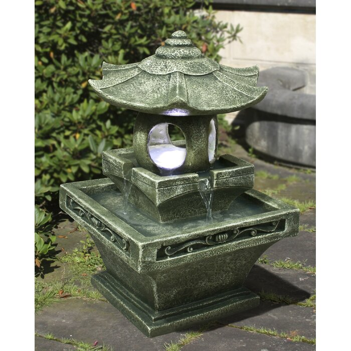 Fibre and Resin Pagoda Lantern Fountain with LED Light