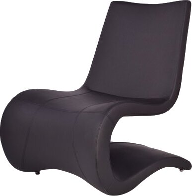 B&T Design Flow Eco Leather Lounge Chair Finish: Black