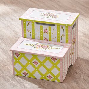 Crackled Rose Step Stool with Storage by Fantasy Fields