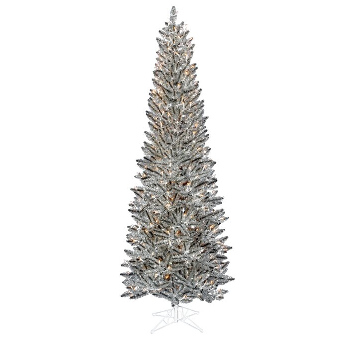 Marvelous Silver Slim Christmas Tree Part - 14: 7.5u0027 Silver Pewter Artificial Tinsel Pencil Christmas Tree With Clear Lights