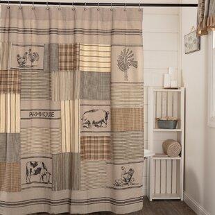 Surikova Stenciled Patchwork Cotton Single Shower Curtain