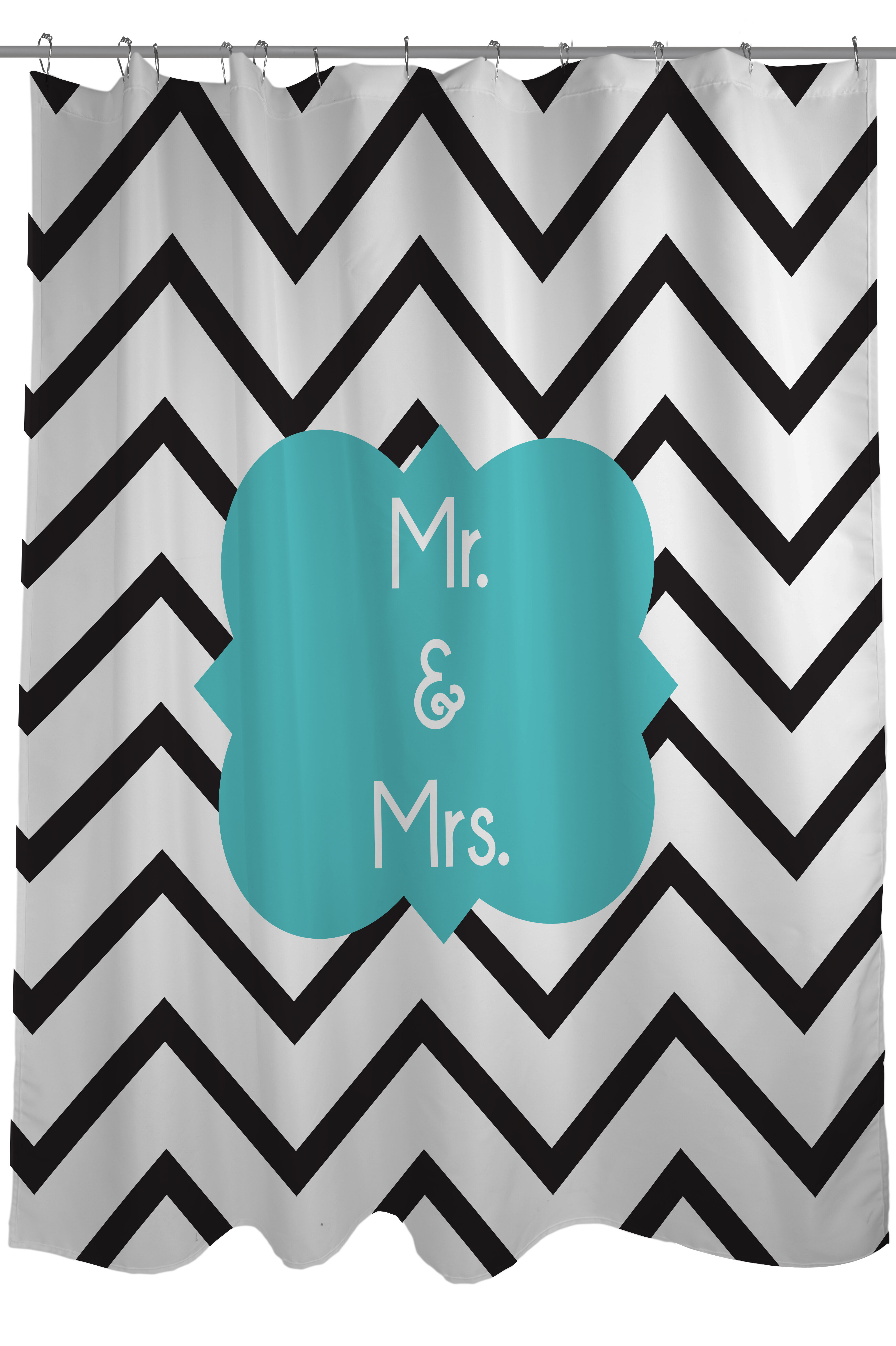 One Bella Casa Mr And Mrs Chevron Shower Curtain