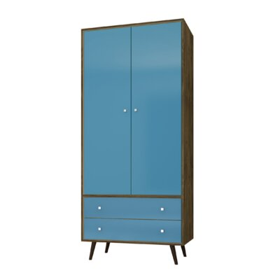 George Oliver Jabari Mid Century Modern Armoire Color: Rustic Brown/Aqua Blue