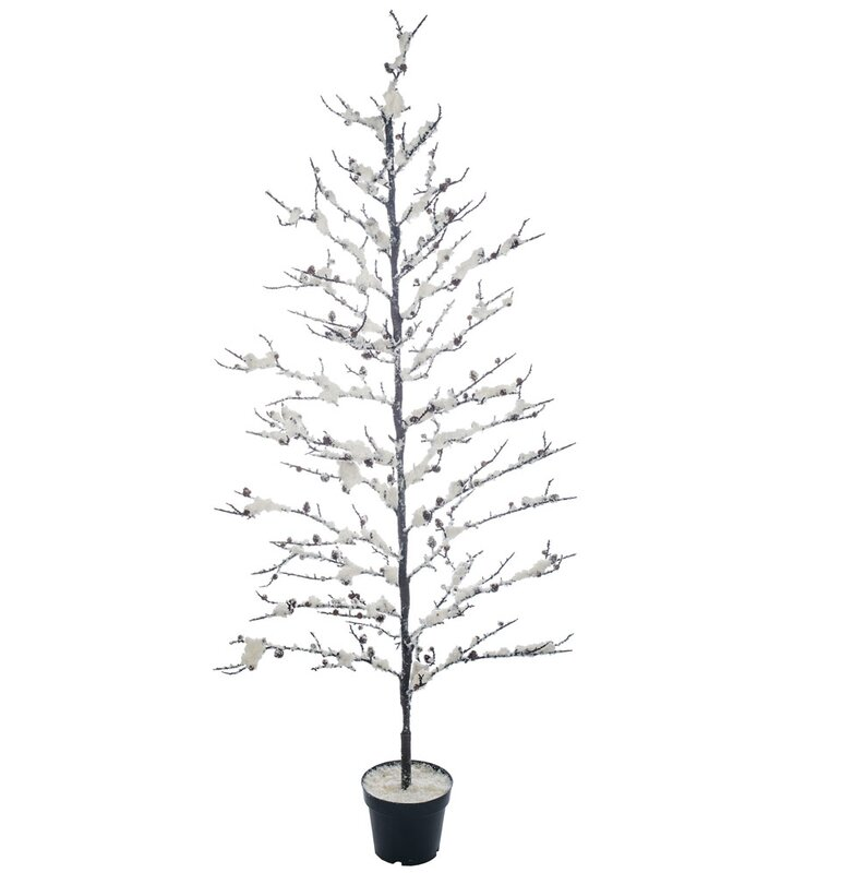 snowy potted 575 white artificial christmas tree with stand - Potted Artificial Christmas Trees