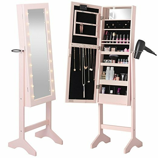 Beautify Free Standing Jewelry Armoire with Mirror Reviews Wayfair